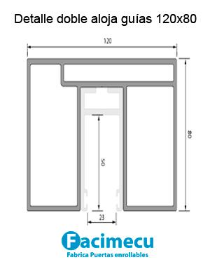 Detalle doble aloja guías 120x80