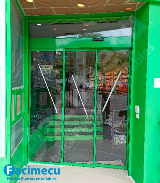 Puerta automática de cristal telescópica